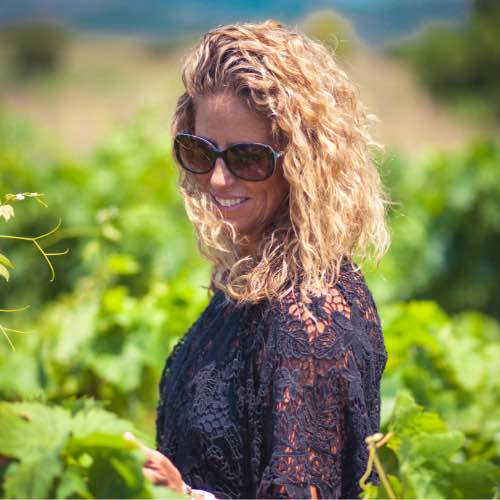 Nina Snow of DOCG Imports in the wine vineyard