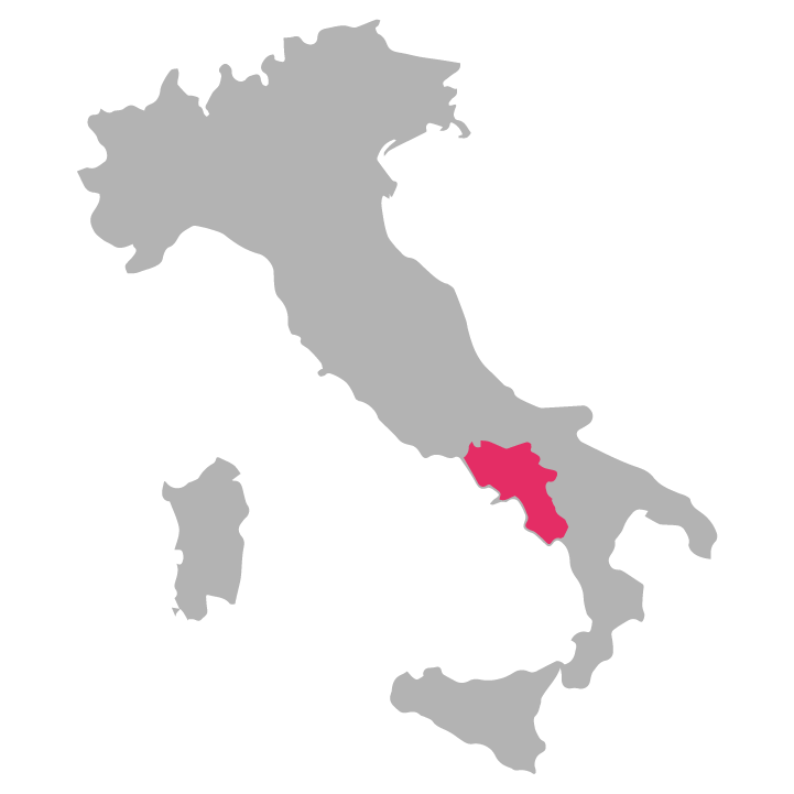 Campania wine region highlighted in pink on a map of Italy