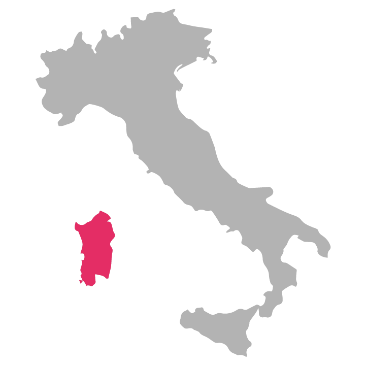 Sardegna wine region highlighted in pink on a map of Italy