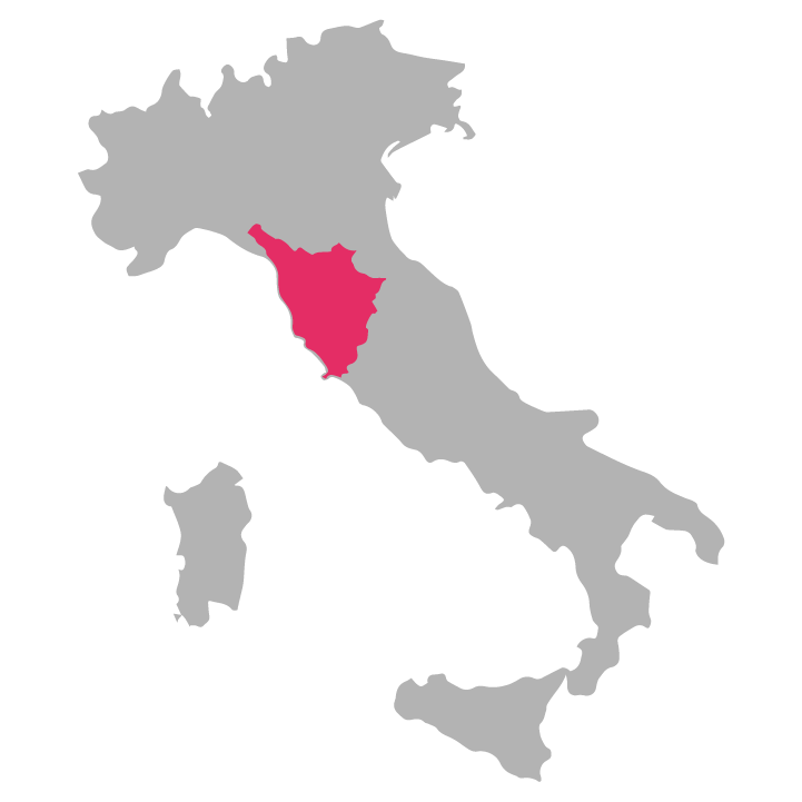 Toscana wine region highlighted in pink on a map of Italy