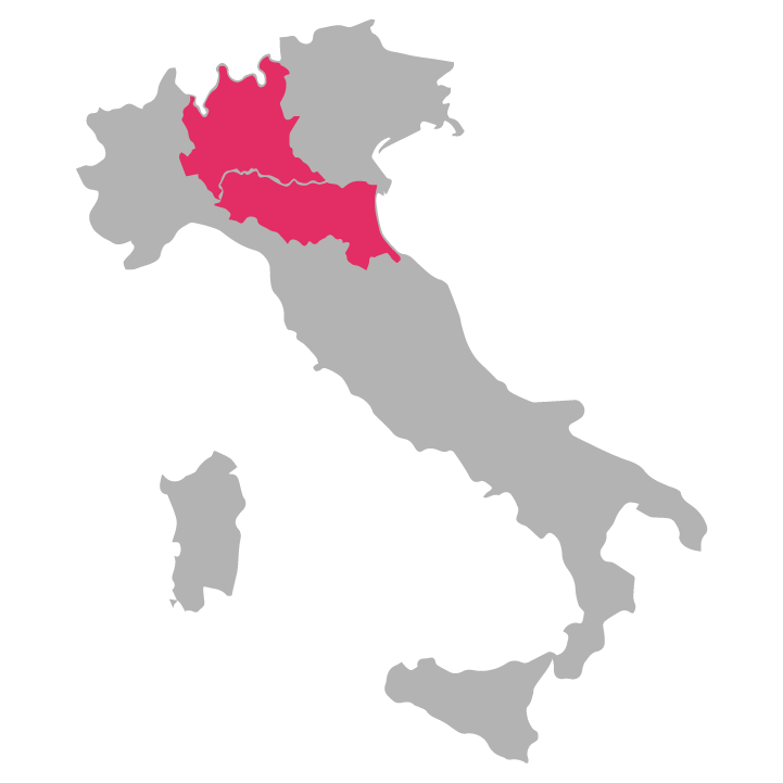 Emilia-Romagna-and-Lombardia wine region highlighted in pink on a map of Italy