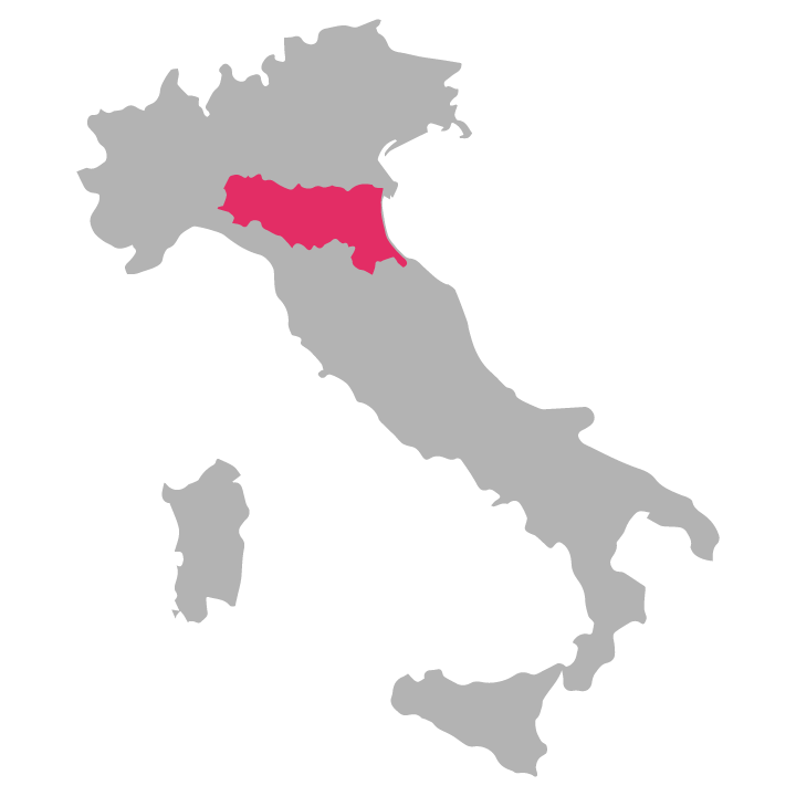 Emilia-Romagna wine region highlighted in pink on a map of Italy