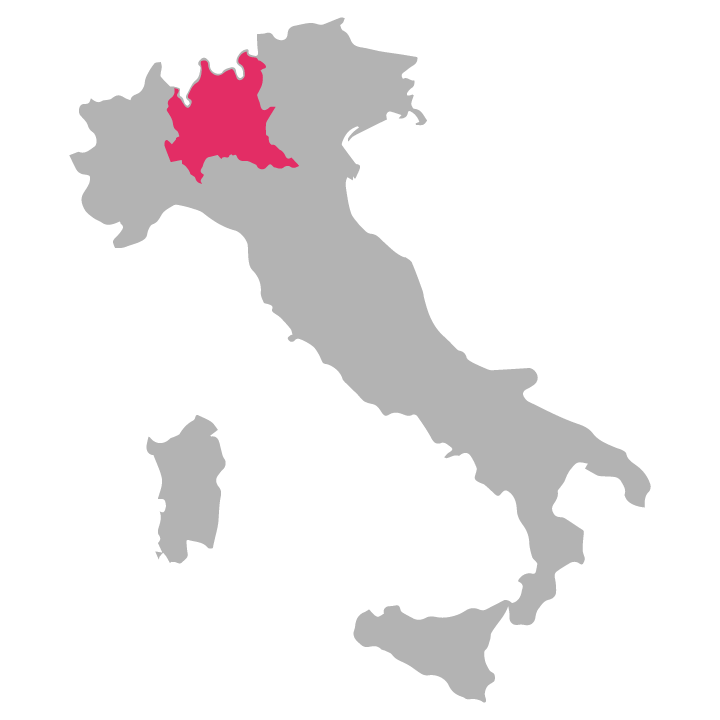Lombardia wine region highlighted in pink on a map of Italy