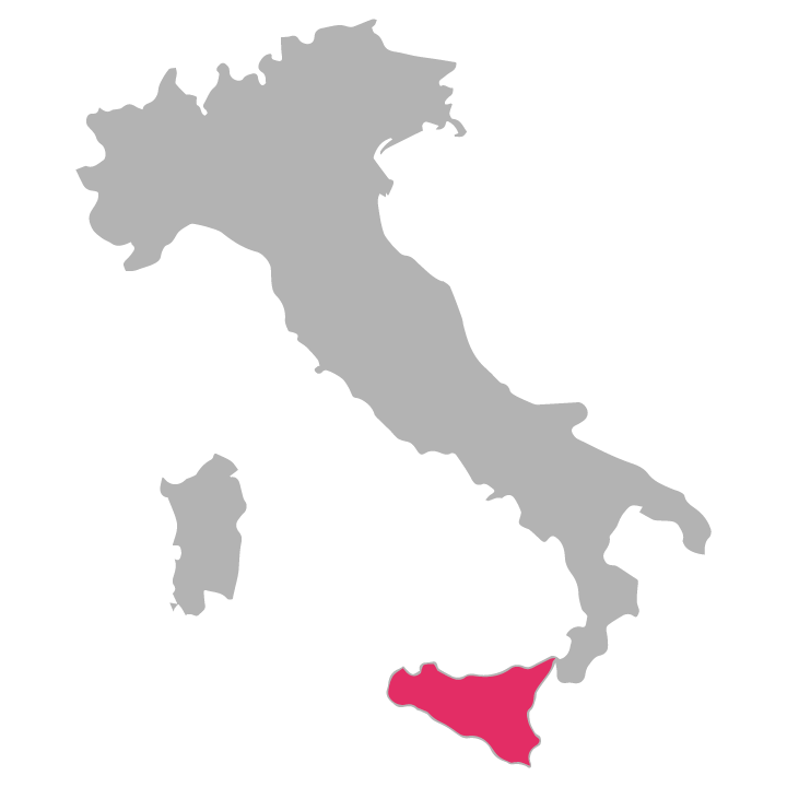 Sicilia wine region highlighted in pink on a map of Italy