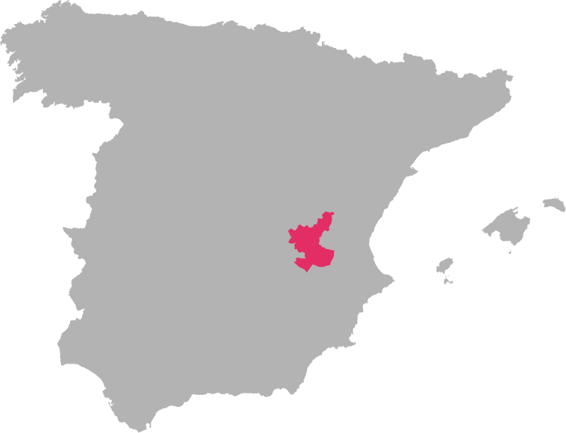 Spain---Manchuela wine region highlighted in pink on a map of Italy