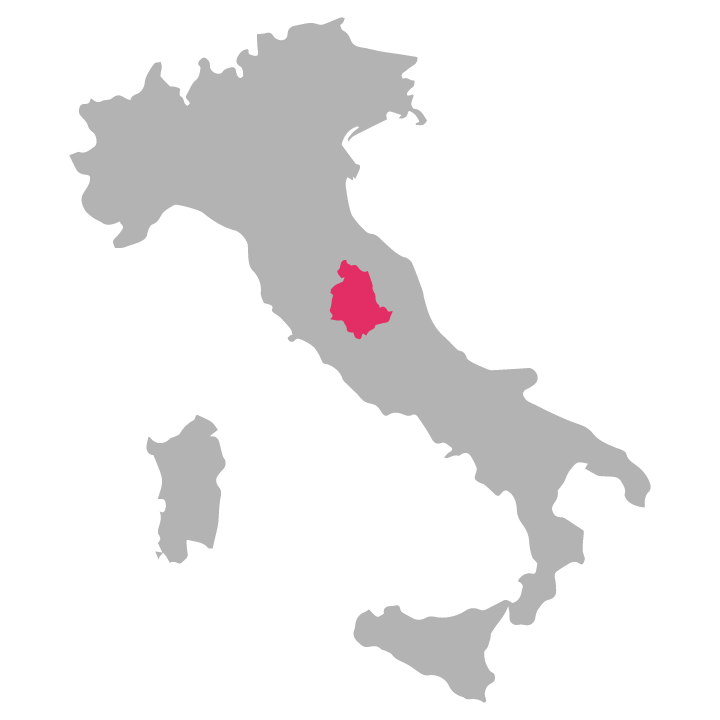 Umbria wine region highlighted in pink on a map of Italy