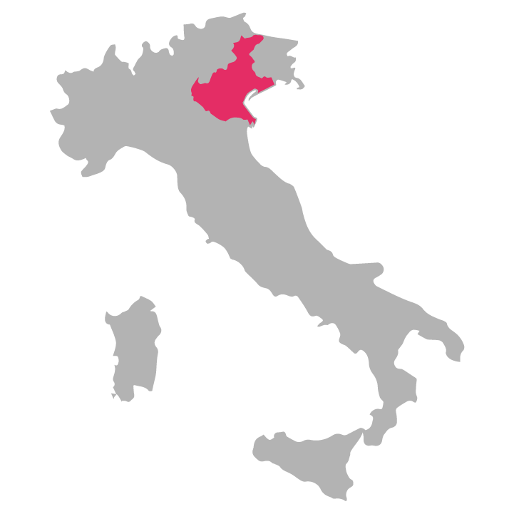 Veneto wine region highlighted in pink on a map of Italy